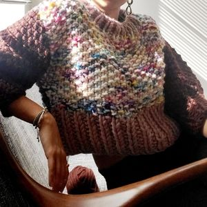 Hand Knit Chunky Cropped Pullover